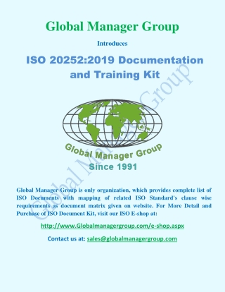ISO 20252 Documents And Training Kit