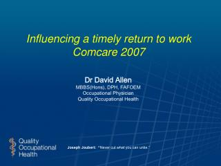 Influencing a timely return to work Comcare 2007