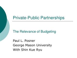 Private-Public Partnerships