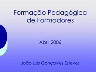 Formação Pedagógica de Formadores Abril 2006 João Luis Gonçalves Esteves