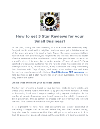 How to get 5 Star Reviews for your Small Business?