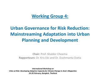 Working Group 4:   Urban Governance for Risk Reduction: Mainstreaming Adaptation into Urban Planning and Development