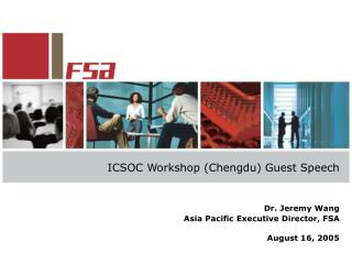 ICSOC Workshop (Chengdu) Guest Speech