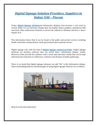 Digital Signage Solution Providers Suppliers in Dubai, UAE - Pixcom