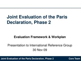 Joint Evaluation of the Paris Declaration, Phase 2