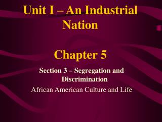 Unit I – An Industrial Nation Chapter 5