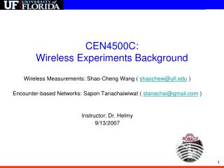 CEN4500C:  Wireless Experiments Background