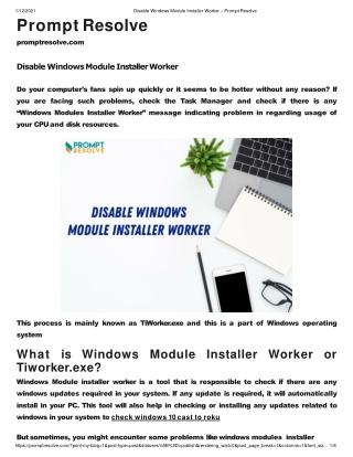 Disable Windows Module Installer Worker