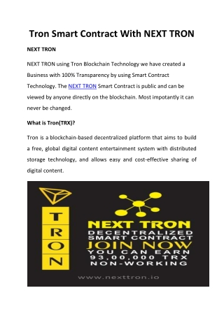 Tron Smart Contract With NEXT TRON