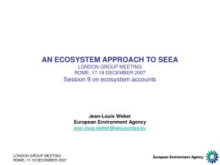 AN ECOSYSTEM APPROACH TO SEEA LONDON GROUP MEETING ROME, 17-19 DECEMBER 2007 Session 9 on ecosystem accounts