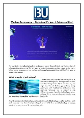 Modern Technology – Digitalized Version & Science of Craft
