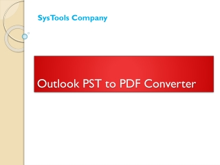 Outlook PST to PDF Conversion Tool