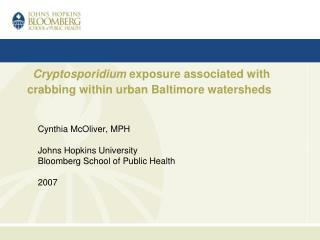 Cryptosporidium exposure associated with crabbing within urban Baltimore watersheds