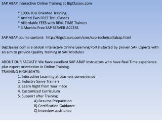 SAP ABAP Interactive Online Training at Newjersey