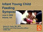 Infant Young Child Feeding Symposium  June 3, 2009  Atlanta, GA