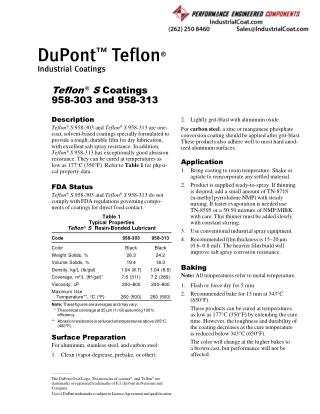 Teflon S coatings 958-303 and 958-313