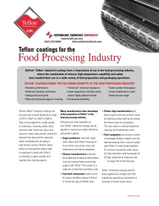 Teflon Coatings Food Processing Industry