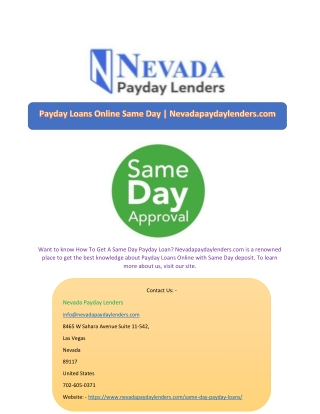 Payday Loans Online Same Day   Nevadapaydaylenders.com