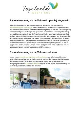 Vakantiewoning kopen op de Veluwe