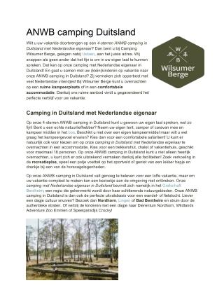 Wilsumer Berge | ANWB camping Duitsland