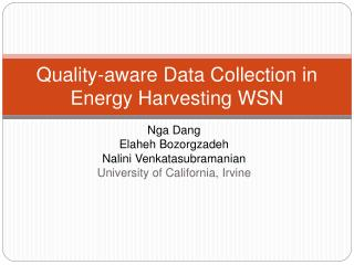 Quality-aware Data Collection in Energy Harvesting WSN