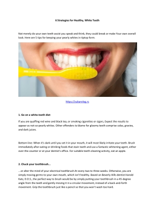 6 Strategies for Healthy, White Teeth