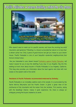 Sotheby's agent Pacific palisades