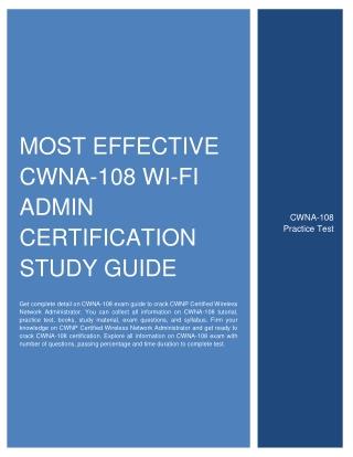 Most Effective CWNA-108 Wi-Fi Admin Certification Study Guide
