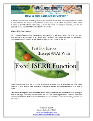 How to Use ISERR Excel Function?