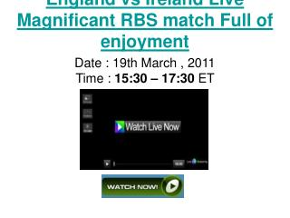 WaTcH & Enjoy England VS Ireland LivE RBS Six Nation Rugby S