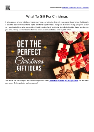 What To Gift For Christmas