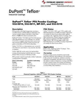 Teflon PFA Powder Coatings