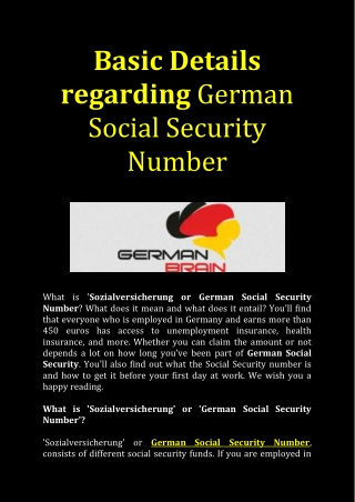 Find your German Social Security Number here now!