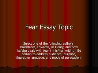 Fear Essay Topic