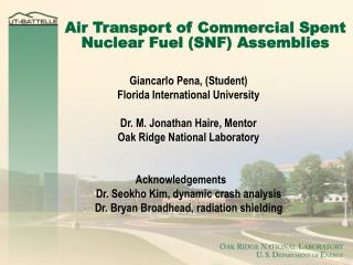 Air Transport of Commercial Spent Nuclear Fuel (SNF) Assemblies