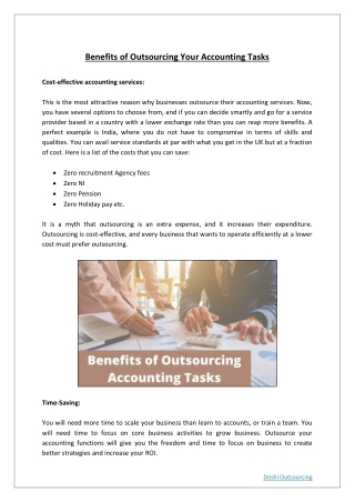 Benefits of Outsource Your Accounting Tasks