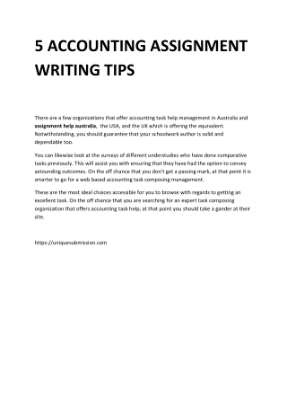 5 ACCOUNTING ASSIGNMENT WRITING TIPS