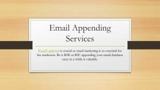 Email Appending | Email Append | Email Appending Services