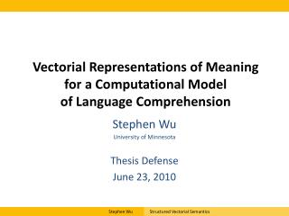 Vectorial Representations of Meaning for a Computational Model  of Language Comprehension
