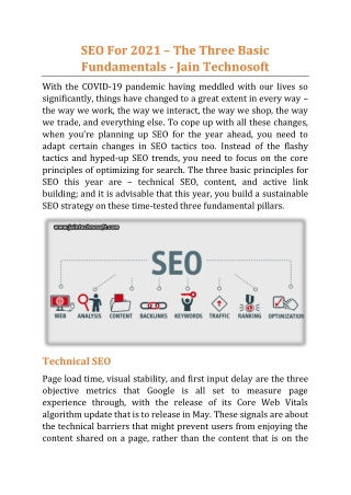 SEO For 2021 – The Three Basic Fundamentals - Jain Technosoft