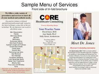 Sample Menu of Services Front side of tri-fold brochure