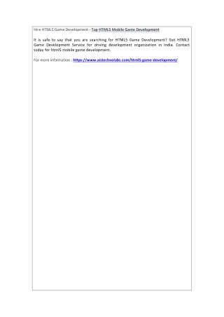 Hire HTML5 Game Development - Top HTML5 Mobile Game Development
