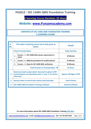 ISO 13485 QMS Foundation Training - online course by Punyam Academy