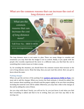 What are the common reasons that can increase the cost of long distance move?