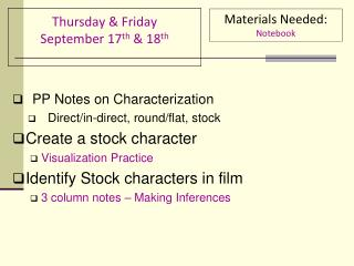 Thursday & Friday September 17 th & 18 th