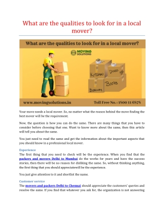 What are the qualities to look for in a local mover?