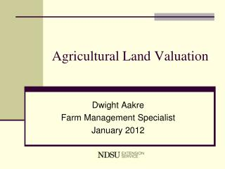 Agricultural Land Valuation