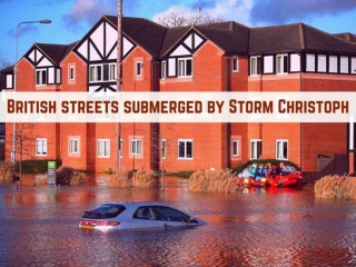 British streets submerged by Storm Christoph