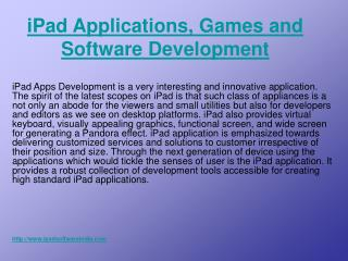 iPad Applications Developers and Software Development