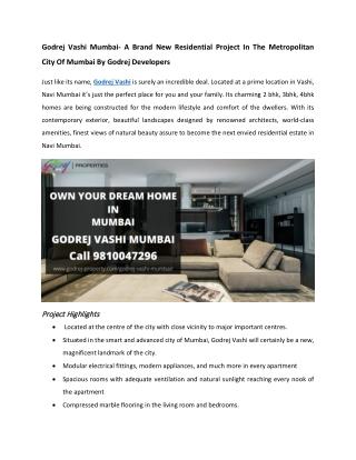 Godrej Vashi Mumbai - Spacious Apartments With Spacious Rooms